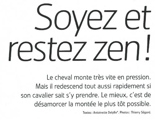 «Soyez et restez Zen : Comment faire descendre la pression de votre cheval» (Cheval Pratique).